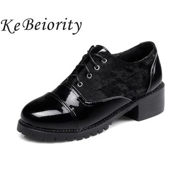 Big size 34-48 spring autum women shoes 2017 leather suede platform oxford shoes for women lace up girls school shoes black red
