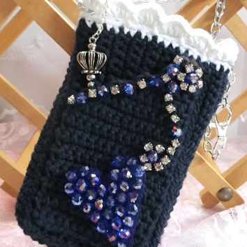 Kawaii Crochet Cell Phone Case iPhone Case Crochet Denim Bag Cell Phone Accessory Beaded Heart Bag Pouch Cross Body Bag