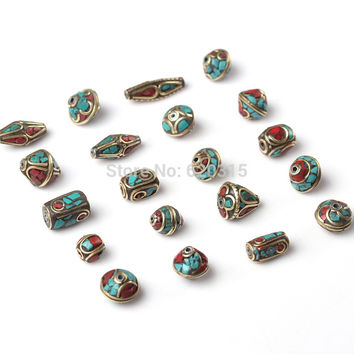 20pc/lot tibet silver Nepal Beads Turquoise Red Coral metal Inlay Copper Tibetan Charms DIY beads
