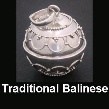 Harmony Ball Traditional Balinese Sterling Silver with ornate motifs on the solid 925 Silver ball | Bola Necklace, Pregnancy Gift idea 306