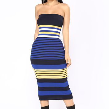 Amalia Stripe Midi Dress - Royal Multi