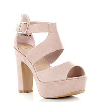 Wide Fit Stone Chunky Strappy Heels