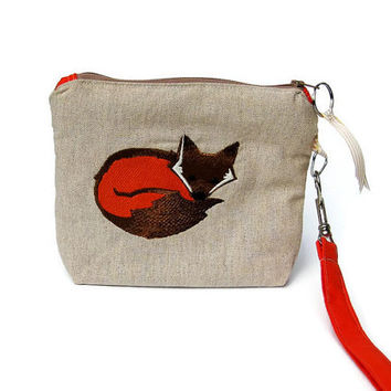 Wristlet purse, bridesmaid's wedding purse, make up bag, iPhone pouch, prom clutch bag, fox embroidery, orange cotton and beige linen.