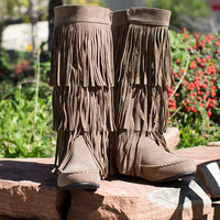 Fringe Moccasin Boots Taupe
