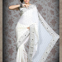 Off White Jacquard Saree with Blouse Online Shopping: SLSBR147