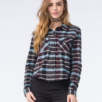 Full Tilt Womens Cropped Flannel Shirt Black  In Sizes