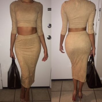 CICI Suede Crop Top & Midi Skirt In Nude | Shop Fashion Therapy