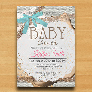 Baby Shower Invitation Burlap Baby Shower Invitation Vintage Rustic Lace  Baby Boy Baby Girl Shower Invitation