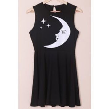 Stylish Sleeveless Round Neck Moon and Star Print Women's Dress