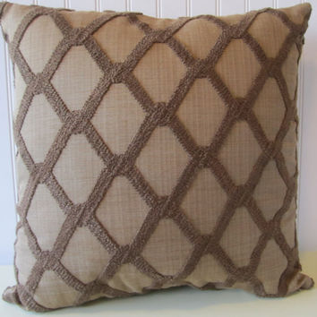Brown Chenille Decorative Pillow Cover---20x20  Contemporary Throw Pillow--Brown on Brown