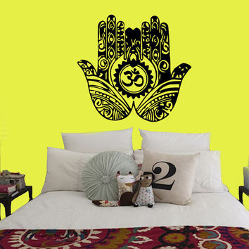 Wall Decals Fatima Hand Hamsa Indian Buddha Om Sign Floral Design Yoga Gym Home Vinyl Decal Sticker Kids Nursery Baby Room Decor kk151