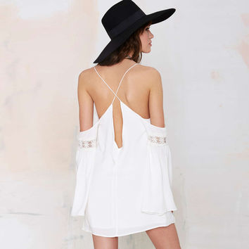 Shoulder Cutout Angel Sleeve Chiffon Shift Mini Dress with Lace Accent