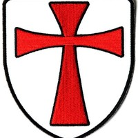 "Embroidered Iron On Patch - Knights Templar Shield 4"" Patch"