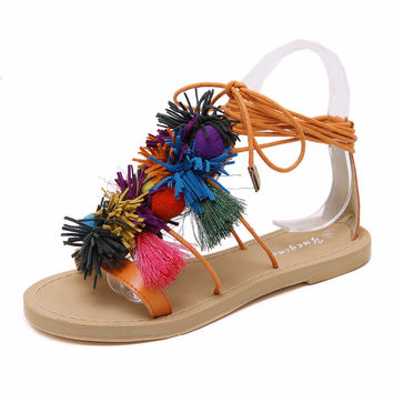 Summer women Boho Bohemian Gladiator Roman sandals shoes woman casual Pompon tassel cross strap Ethnic flip flop flat Sandals