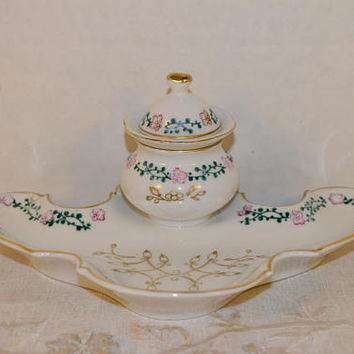 Porcelain Inkwell 3 piece Vintage Victorian Gilded Pink Floral Inkwell & Attached Tray Office Desk Accessory Dip Pen Desktop Decor