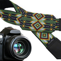 Southwestern camera strap with pocket.  Green, white, yellow pocket camera strap for DSLR and SLR cameras. Personalized & custom accessory