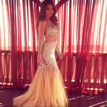 2016 Champagne Mermaid Prom Dresses Long Luxury Halter Tulle Crystal Evening Party Dress Cheap Formal Gown WH64