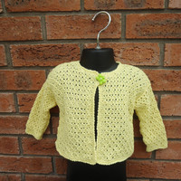 Hand Knitted Baby Cardigan, Lace Baby Cardigan , Baby Jumper, Baby Sweter, Yellow Baby Cardigan