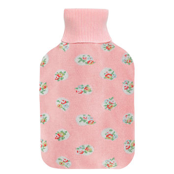 FLORAL SPOT KNITTED HOT WATER BOTTLE & COVER