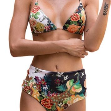 Fashion trend high-waisted printed swimsuit sexy two-piece bikini
