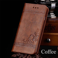 Coffee Embossed Leather Flip Phone With Card Slots Case For iPhone 7 Plus 6 6s Plus 5s 4s