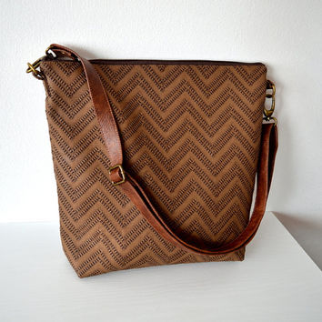 Brown chevron bag, Shoulder purse, Faux leather bag with genuine leather strap, Crossbody bag purse