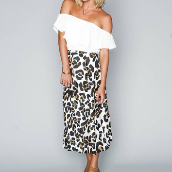 Tea Party Midi Skirt Queen Cheetah