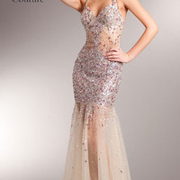 kc14227 Sheer Prom Dress Nude Jeweled by Kari Chang Couture