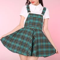 Glitters For Dinner — Green Tartan Pinafore