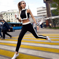 Fashion Sexy black white splicing vest leisure Sports wear suits