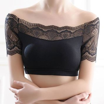 Women  A word shoulder Sexy Lace Bra Sexy Prevent Exposed Lace Wrapped Chest Lace Underwear strapless for Females