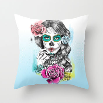 Aaliyah - Day of the Dead Throw Pillow by DejaLiyah | Society6
