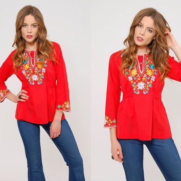 Vintage 70s Red MEXICAN Top EMBROIDERED Floral Top BOHO Tunic Festival Top