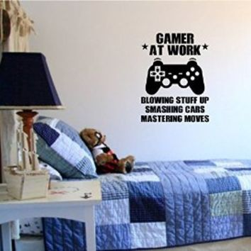 Gamer At Work Old School Vintage Video Game Decal Sticker Wall Boy Girl Teen Child Sport Fight