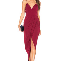 Shona Joy Core Cocktail Wrap Dress in Burgundy