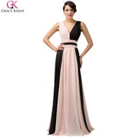 Long Evening Dress Chiffon Sleeveless V Neck Ombre Formal Gowns Splice Elegant Evening Party Special Occasion Dress