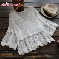 2017 Summer Women Blouse Loose V-neck Perspective Flower Embroidery Lace Shirt Japanese Style Mori Girl Lolita Princess Tops
