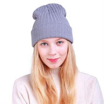 Winter Beanie Hat Women Wool Knit