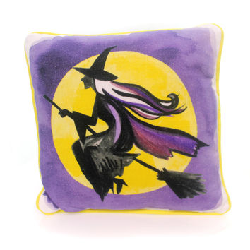 Halloween Flying Witch & Full Moon Pillow Halloween Accent Pillow