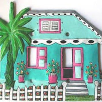 Painted metal light switch plate cover - Tropical Caribbean House - Handcrafted recycled steel drums, Switchplate Covers, S-1025-Tq.-3