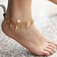 Sexy Simple Gold Leaf Foot Chain