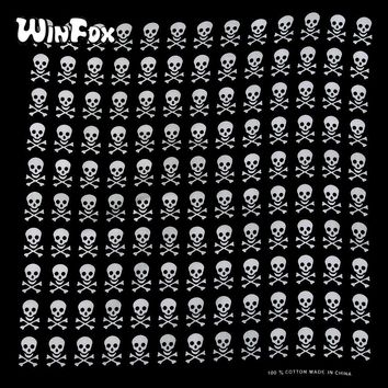 Winfox 55CM*55CM 100% Cotton Hip-Hop Punk Black Skull Square Bandanas Scarf Headband Wrap Neck Scarf For Men Women