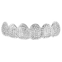 14k White Gold Fully Iced Out Top Teeth Grillz For Mens