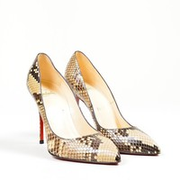 DCCK2 Christian Louboutin Brown and CreamChristian Louboutin Snakeskin Leather Decollete Pumps