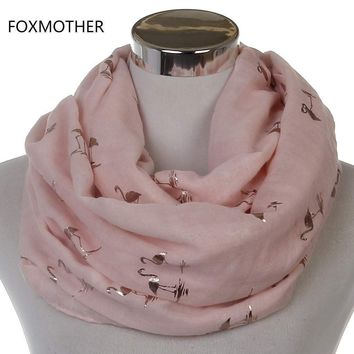 Free Shipping 2017 New Fashion Women Shiny Pink Beige Grey Bronzing Gold Flamingo Swan Infinity Scarf Snood For Womens
