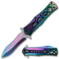 Spring Assist - 'Legal Auto Knife' - Rainbow Finished Dagger