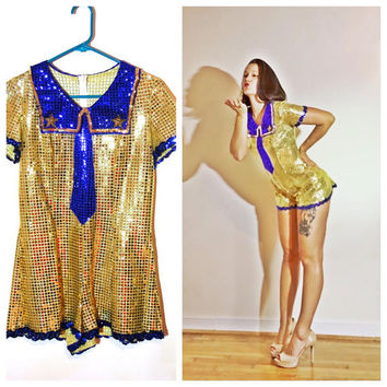 Pin Up Sailor Costume Cosplay Halloween Sequin Blue and Gold Nautical Jumper size Small