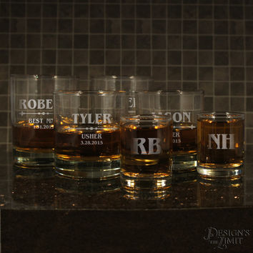 Old Fashioned Personalized Whiskey Lowball Tumbler with Groomsman Monogram Designs & OPTIONAL 3 oz. Monogrammed Shot Glass