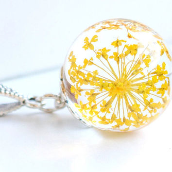 Resin flower Pendant, Real flower Necklace, dill real flower,real  yellow dill flower crystal  resin pendant, jewelry for woman
