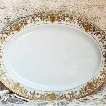 Antique Noritake Platter Large Christmas Ball Platter #16034 1900s Raised Gold on White Fine Porcelain Holiday Dinnerware Victorian China